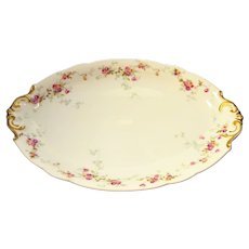 Antique Bernardaud French Limoges Gilded Platter Pink Roses Vines Gilt