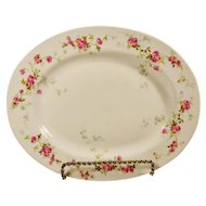 Antique  Bernardaud French Limoges Platter Pink Roses Vines Large