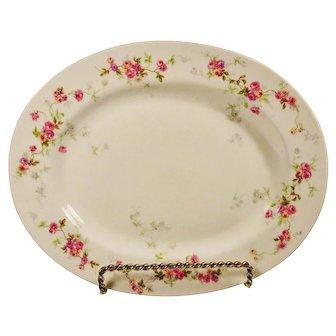 Antique  Bernardaud French Limoges Platter Pink Roses Vines Large
