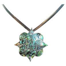 Vintage Sterling Taxco Abalone Hearts Brooch Pendant Mexico 925