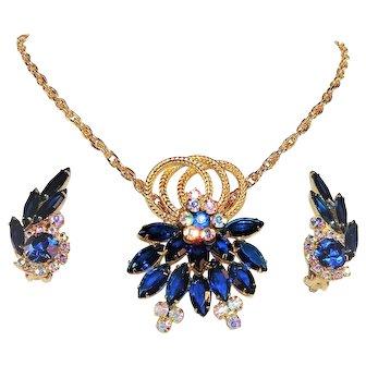 Vintage Juliana Brooch Repurposed Pendant Earrings Set