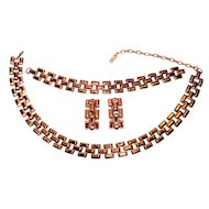 Vintage Copper Necklace Bracelet Earrings