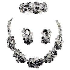Vintage Black Diamond Rhinestone Necklace Bracelet Earring Set