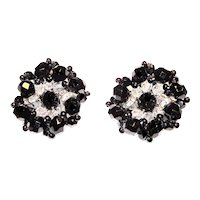 Vintage Black Crystal Rhinestone Rondelle Earrings