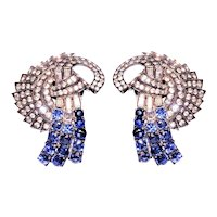 Art Deco Pair Sapphire Blue Rhinestone Diamante Fur Clips