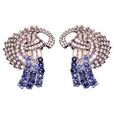 Art Deco Pair Sapphire Blue Rhinestone Diamante Fur Clips