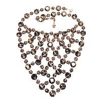 Vintage Vendome Black Diamond Rhinestone Bib Necklace Diamante Rondelles