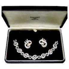 Vintage Trifari Bracelet Earrings Baguette Rhinestone Diamantes