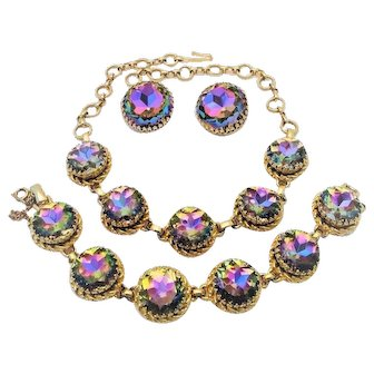 Vintage Schiaparelli Watermelon Necklace Bracelet Earrings Tourmaline Rhinestone Book Set