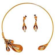 Vintage Anne Klein Necklace Earrings Faux Pearl Golden Calla Lilies Set