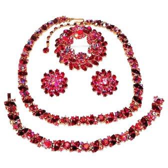 Vintage Trifari Radiance Necklace Bracelet Brooch Earrings Red Rhinestones AB Book Ad Set