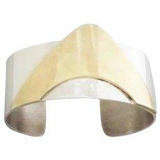 Vintage Sterling Silver Bronze Cuff Mod 1970s Bracelet