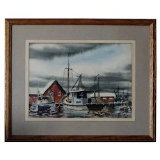 Biloxi Shrimp Boats Anthony Shemroske 1956 Seascape Watercolor