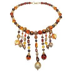 Mixed Bead Bib Necklace Tigers Eye Iridescent Orbs Vintage Art Glass