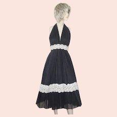 Vintage Beverly Paige Halter Dress Black Lace