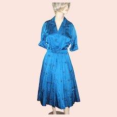 Vintage McMullen Dress Blue Shirtwaist Horse Hunt