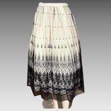 Vintage Black Lace Skirt Intricate Point d'Esprit