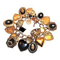 Vintage Charm Bracelet Horses Hearts Lockets Gold Tone