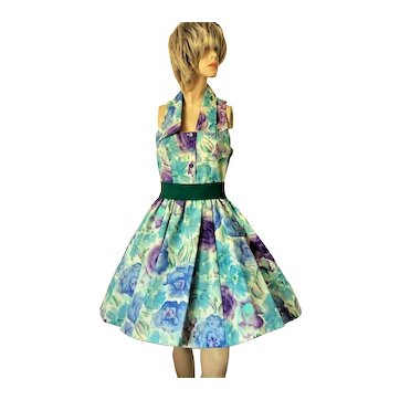 Vintage 1980s Laura Ashley Dress Floral Cotton