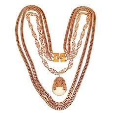 Vintage Gold Tone Necklace Triple Strand Faux Marble Pendant