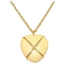 Vintage Estee Lauder Heart Pendant Necklace Solid Perfume 1974