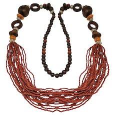 Vintage Wood Necklace Seed Beads Boho Style