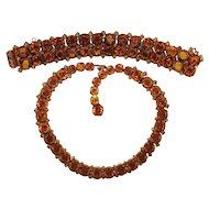 Vintage Kramer Net Rhinestone Necklace Bracelet Book Set