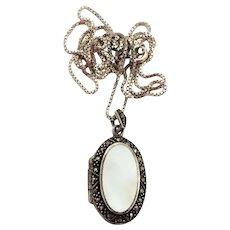 Vintage Sterling Locket Necklace Mother of Pearl Marcasite