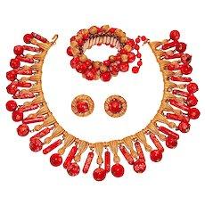 Vintage Trifari Necklace Bracelet Earrings Red Murano Art Glass Dangles