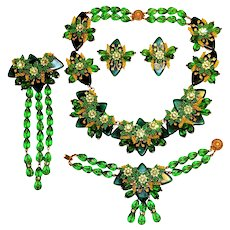 Stanley Hagler Necklace Bracelet Brooch Earrings Set Green Art Glass Beads Rhinestones Rondelles