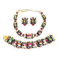 Vintage Florenza Watermelon Necklace Bracelet Earrings Tourmaline Rhinestone  Set