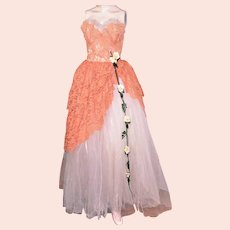 Vintage 1950s Strapless Lace Tulle Dress