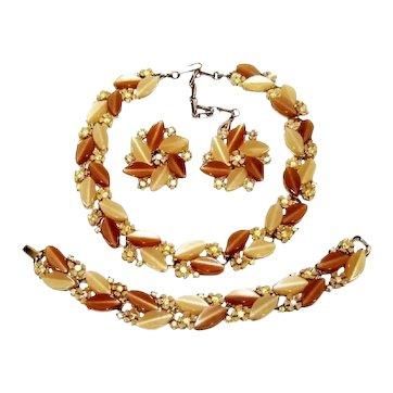Vintage Coffee Cream Lisner Lucite Rhinestone Necklace Bracelet Earrings Set