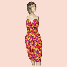 Vintage Victor Costa Bright Floral Strapless Bustier Dress