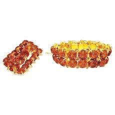 Vintage Kramer Net Brooch Bracelet Set Topaz Rhinestones