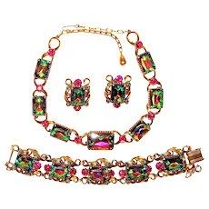 Vintage Florenza Watermelon Necklace Bracelet Earrings Set