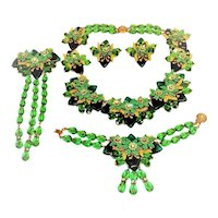 Stanley Hagler Necklace Bracelet Brooch Earrings Greens Rondelles Crystals