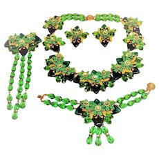 Stanley Hagler Necklace Bracelet Brooch Earrings Greens Rondelles Crystals