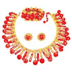 Vintage Trifari Necklace Bracelet Earrings Red Murano Glass Egyptian Revival Set