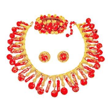 Vintage Trifari Necklace Bracelt Earrings Red Murano Glass Egyptian Revival Sey