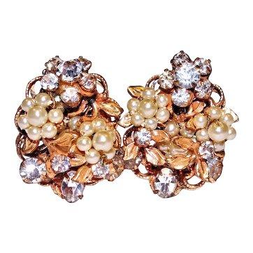 Vintage Rhinestone Faux Pearl Gold Tone Leaves Earrings by Robert