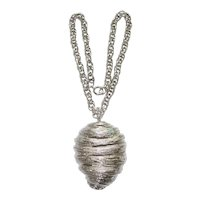Huge Pendant Necklace Silver Tone Edwin Pearl