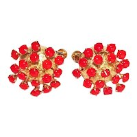 Vintage Coro Craft  Atomic MCM Red and Gold Tone Earrings Pat Pend