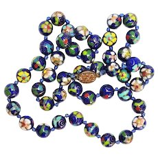 Vintage Chinese Cloisonne Bead Necklace