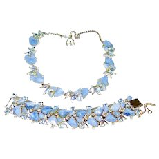 Vintage Rousseau Fruit Salad Blue Rhinestone Necklace Bracelet Set