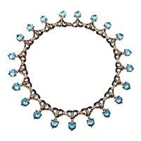 Vintage Aquamarine and Diamante Rhinestone Necklace