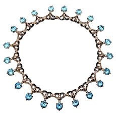 Vintage Aquamarine and Diamante Rhinestone Necklace