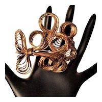 Vintage Wire Work Cuff Bracelet Gold Tone Scrolls