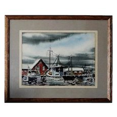 Biloxi Shrimp Boats Shemroske 1950s Watercolor