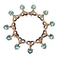 Vintage Lt Aquamarine and Diamante Rhinestone Bracelet